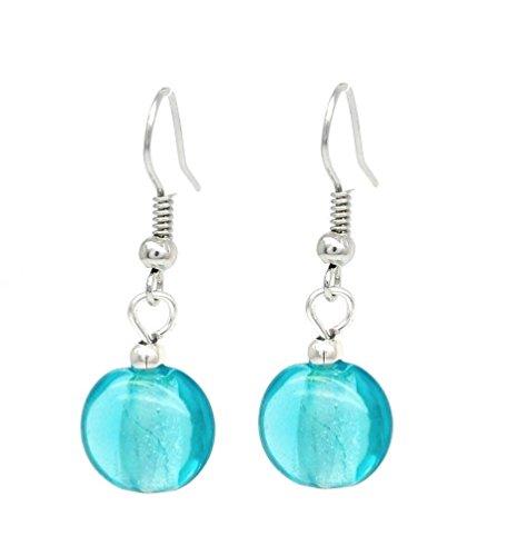 Stilvolle Schmuck venezianischen Sky Blau/Silber Murano Glas Ovale Form Ohrringe Hängeohrringe
