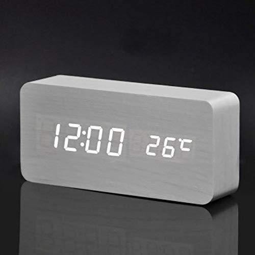 HLKJ Klokken, Houten Digitale Alarm Klok Niet Ticking Bureau Klok Stille LED Alarm Verstelbare Helderheid Klokken 3 Aparte Alarmen Temperatuur Display USB/Batterij Aangedreven Kalender Display