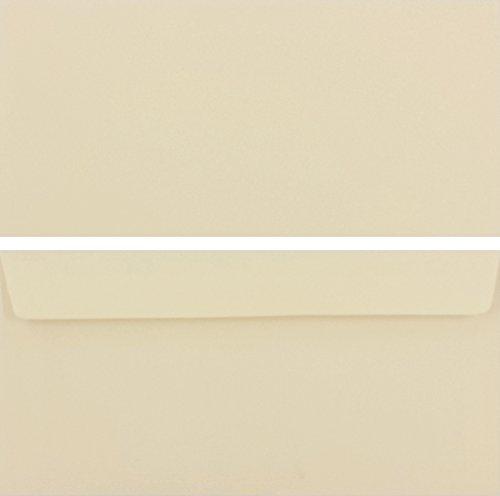 50 Stück farbige Premium Briefumschläge Briefhüllen Kuvert, Caribic Creme Beige, DIN Lang (110 X 220mm), ohne Fenster, haftklebend, 90g/m² - Karibik Umschläge