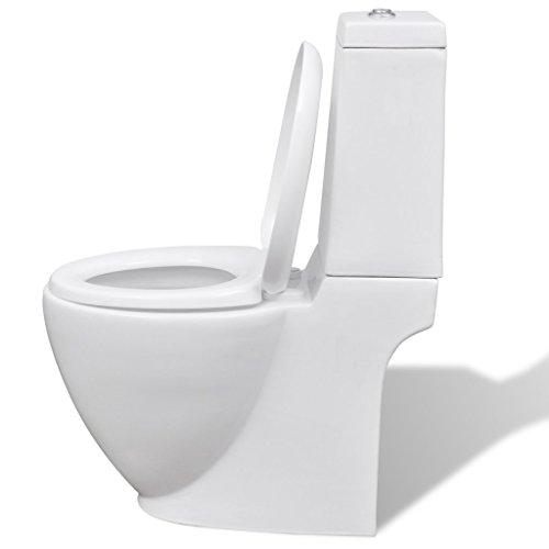 Festnight- Toilette en céramique Ronde 39 x 66 x 84 cm Blanc