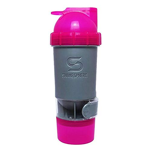 ShakeSphere Protein Shaker Bottle 24oz with 5 Extra Storage compartments and an Innovative Internal Rounded Capsule (Pink/Grey)