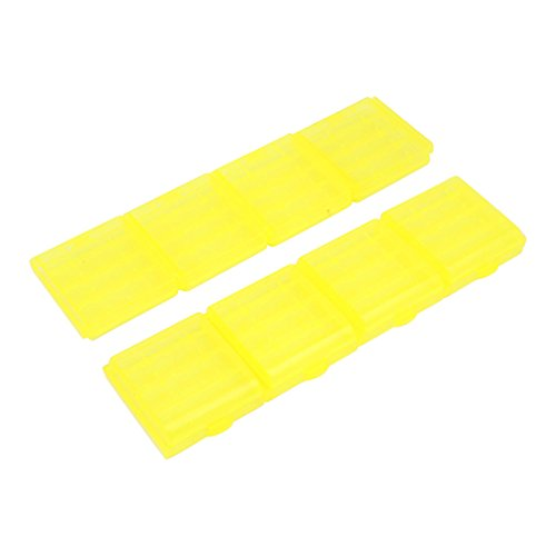 sourcing map 8PCS Plastic Portable Case Holder Storage Box Yellow for 4 x 1.5V AA Batteries