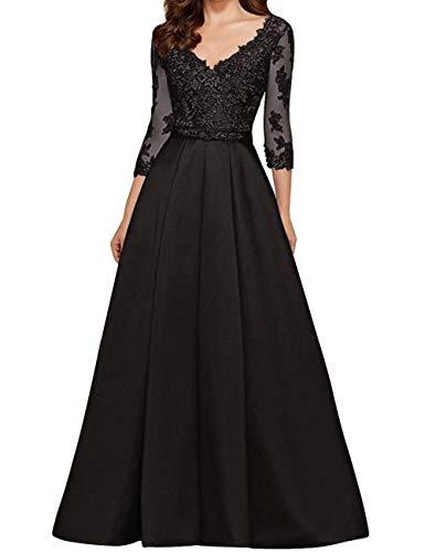 HUINI Abendkleid Vintag Ballkleider V-Ausschnitt Brautmutterkleider Hochzeitskleid Spitzen Partykleider Schwarz 32