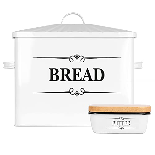 """Houseables Bread Box & Butter Dish for Kitchen Countertop, 15.25"""" x 12.5"""" x 7"""", White, Extra Large, Metal, Enameled Storage Containers, Food Bin w/Lid, Rustic Enamelware, Farmhouse, Counter Keeper"""