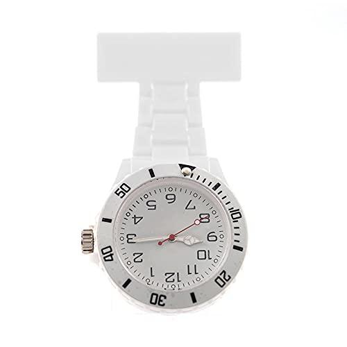 YYMY Reloj de Bolsillo médico paramédico,Reloj de Bolsillo para Enfermera con Puntero de luz Nocturna, Pecho de médico Neutro Grande, Blanco