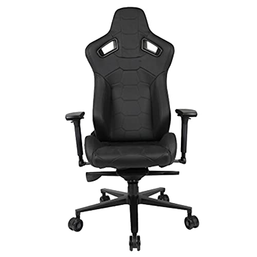 QJN Silla para juegos ajustable de respaldo alto, silla de oficina de cuero de vaca de primera capa, silla de juegos de cuero, silla de ordenador Junlin trono negro