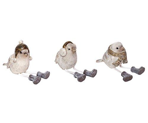 Brillibrum Deko Figur Vogel Kantenhocker Vögel Sitzend Wintervogel Deko-Objekt Vögelchen Set Spatzen aus Polyresin (Set (Variante I-III))