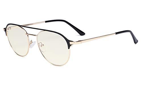 Eyekepper Gafas bloqueo luz azul - Gafas de Diseño piloto de doble puente Mujeres bloqueo Rayos UV de pantalla de ordenador - Antideslumbrante Reducir la tensión ocular - Negro