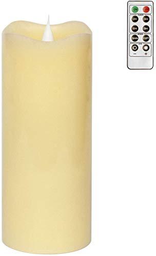 simpdecor Velas sin llama parpadeantes, velas LED, velas sin llama, mando a distancia con función de temporizador, 3 x 7 pulgadas, color marfil