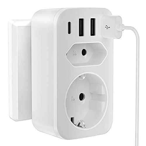 Cubo de Enchufe,USB 3 Enchufes con 3 Conexiones de Dargador USB Enchufe Múltiple,6 en 1 con Interruptor,2500W / 10A Cubo de Enchufe Inalámbrico con Adaptador de Enchufe para Teléfono Inteligente