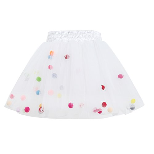 GoFriend Tutu Skirt Baby Girls Tulle Princess Dress 4-Layer Fluffy Ballet Skirt with Pom Pom Puff Ball, White, XL/6-7T