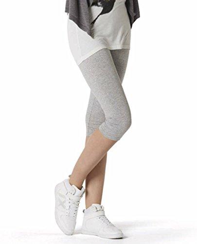 Esmara® Damen Leggings, Capri-Länge (hellgrau meliert, Gr. S - 36/38), aus Baumwolle