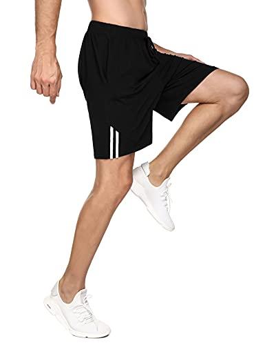 Doaraha Pantalones Cortos Hombre Deporte Deportivos Running Casual Sport Shorts Verano Algodón Pantalón Corto Chándal Correr Fitness Suave Ligero con Bolsillo (1296# Negro, L)