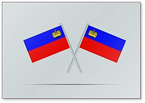 Liechtenstein Nationale Vlag op Twee Vlaggenmast Koelkast Magneet