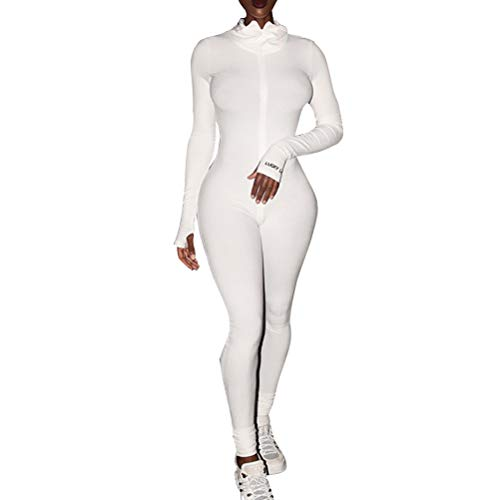 ECHOINE Womens One Piece Bodycon Jumpsuit -Sexy Long Sleeve High Waist Embroidery Zipper Romper Clubwear White