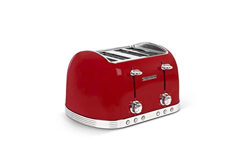 Schneider SCTO4 Toaster Vintage 4 Schlitze, 6 Positionen, doppelte Krümelschublade, Rot