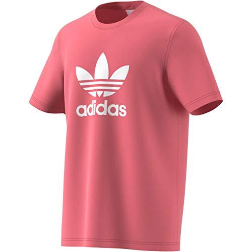 adidas Camiseta de trébol rosa y blanco L