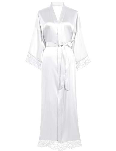 Coucoland Damen Morgenmantel Lang Kurz Einfarbiger Bademantel Spitzen Ärmel Seide Satin Kimono Kleid Damen Sommer Robe Reine Farbe Schlafmantel (Lang - Weiß)