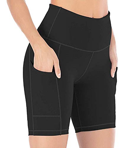 Women's Active Fitness Sports Yoga Booty Shorts for Running Gym Workout (Black S)