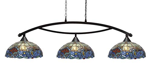 Toltec Lighting 873-DG-935 Bow - Three Light Billiard/Island, Dark Granite Finish with Sierra Art Glass
