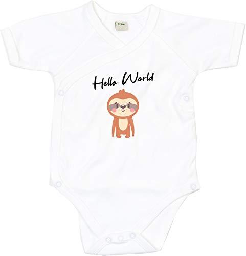 Kleckerliese Body per bambini, con scritte, per bambini, a maniche corte, motivo: Hello World, animali bianco 3-6 Mesi