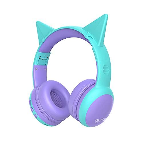 Auriculares Bluetooth de Diadema para niños, Cascos Bluetooth Inalámbricos con Oreja de Gato, Auditiva Límite de 85DB, Sonido Estéreo, con Micrófono, Plegable, para Movil, Tablet, PC,Purple