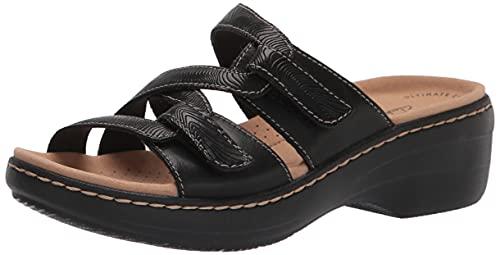 Clarks Women's Merliah Karli Sandal, Black Leather, 7
