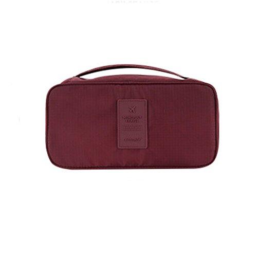 DELEY Portable Imperméable Soutien-Gorge Organisateur Bag Cosmétiques Sac De Rangement Rouge Profond