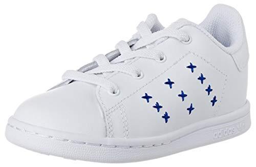 adidas Stan Smith El I, Scarpe da Ginnastica Unisex-Bambini, Ftwr White/Ftwr White/Team Royal Blue, 26 EU