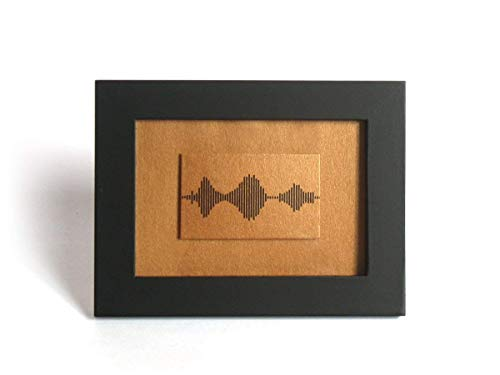 I Love You Soundwave Art, Visible Voice Bronze or Copper Wedding Anniversary and Valentine Gifts for him or her - 3.5 x 5 inch Small Things Great Love