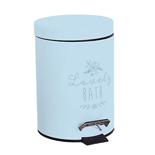 Makingifts Papelera de Baño, Cubo Basura Reciclaje con Pedal y Tapa 3 litros Lovely Azul 24 cm
