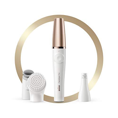 Braun - FaceSpa Pro 912 - Depiladora facial, limpiadora y sistema de tonificación de la piel, 3 en 1, con 3 accesorios, color blanco y bronce