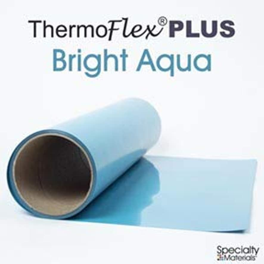 Thermoflex Plus Heat Transfer Vinyl (HTV) Iron-on for Silhouette Cameo, Cricut, etc (Bright Aqua, 15