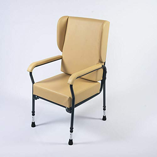 NRS Healthcare Stuhl mit hoher Rückenlehne, höhenverstellbar, mit Flügeln, groß, cremefarben