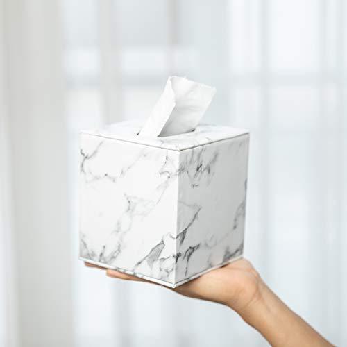Tissue Box Cover,Tissue Box Cover Square,Marble Stripes Tissue Box Cover,Tissue Box Holder for Bathroom Accessories,PU Leather Tissue Holder,Marble Stripes
