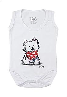 Skills Round-Neck Puppy-Print Sleeveless Bodysuit for Kids - White, 9-12 Months