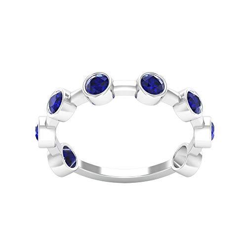 Anillo de eternidad de zafiro azul certificado SGL de 1,2 ct, gemas de boda, aniversario de boda, anillo de oro, declaración para mujer, anillo único de promesa de novia, 14K Oro blanco, Size:EU 60