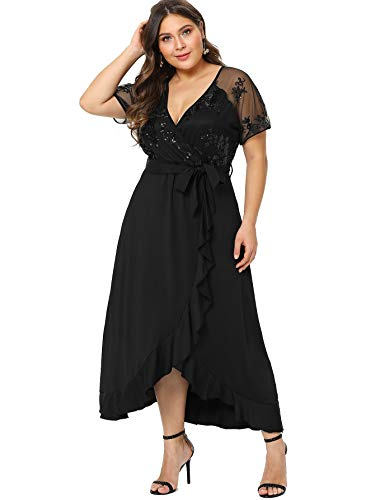 Milumia Plus Size Empire Waist Maxi Dress Ruffle Split Semi Sheer Embroidered Party Solid Dresses Black 2XL
