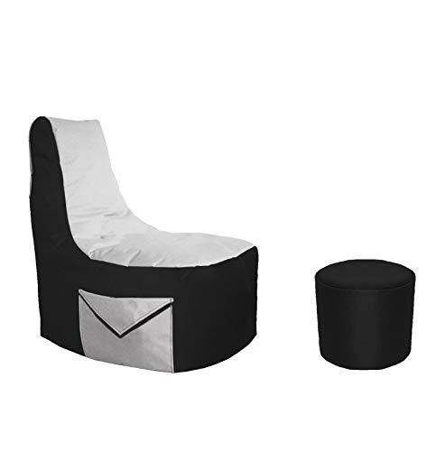 Lacasa Gaming Sitzsack 85x80x35 mit Seitentasche und Hocker Erwachsene Sessel XXL kompatibel mit PS4 XboxOne Nintendo Switch Outdoor Indoor Bodenkissen Sitzkissen in Schwarz & Weiß.