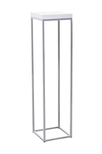 Vivanno Podest Säule Deko Blumensäule Dekosäule Sandstein Weiß/Silber, 100x25x25 cm