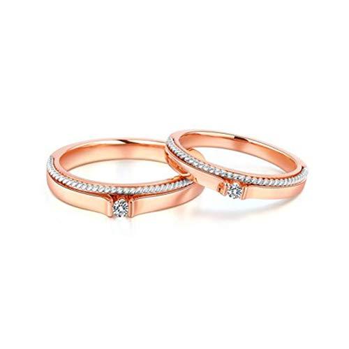 KnSam Anillo Oro Rosa de 18K, Espiral Anillos de Aplicación con Diamante Blanco 0.08ct, Mujer Talla 22 y Hombre Talla 16 (Precio por 2 Anillos)