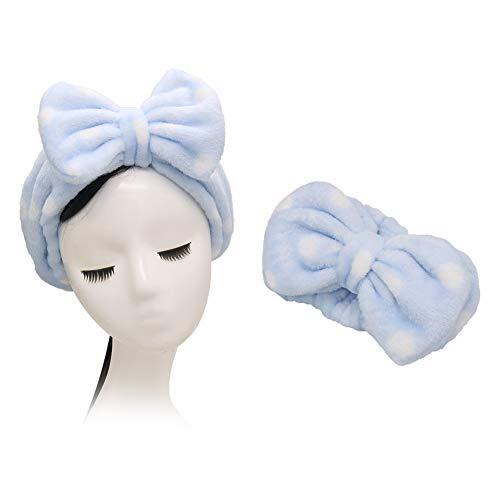 Shintop Make-up Stirnband Superweiches Kosmetik Haarband Haarreif aus Flanell für Spa Gesichtsreinigung Gesichtspflege (Hellblau)