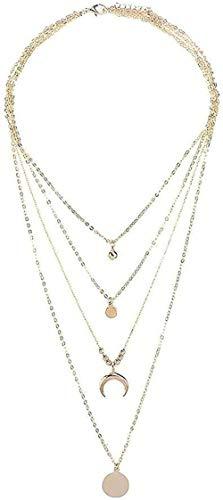Yiffshunl Collar Collares de Moda para Mujer Gargantilla Cuerno Multicapa Luna Creciente Cadena Colgante Collar Cadena Joyas Oro 37cm 42 cm 49cm 59cm