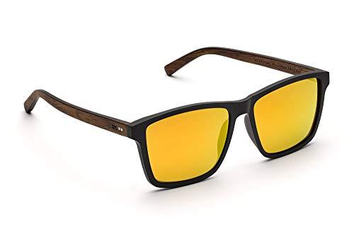 TAKE A SHOT – Gafas de sol cuadradas grandes, para hombres: patilla de madera y montura de plástico, protección UV400, lentes antirreflejos, MICHEL