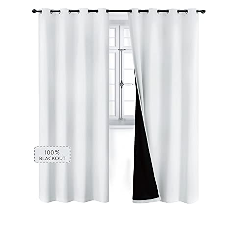 Bedsure 100% Blackout Curtains 84 inches - Full Room Darkening Curtains for Bedroom 2 Panels - Soundproof and Thermal Insulated Drapes ( Greyish/Grayish, 52×84 )