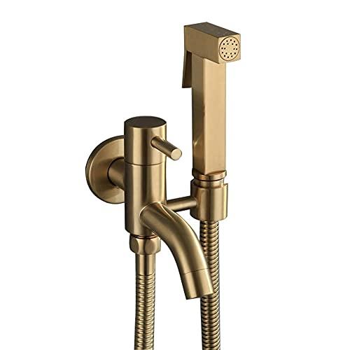 Grifos de Bidé Shattaf Pulverizador Portatil para WC Oro, Cobre Bidé a Presión agua fría para Baño Inodoro Ducha Bidet para Inodoro Wc-B