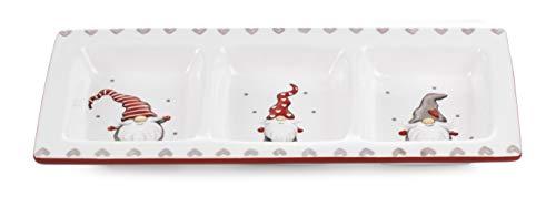 Paben - Bandeja navideña con gnomos divertidos de cerámica de 31 cm.