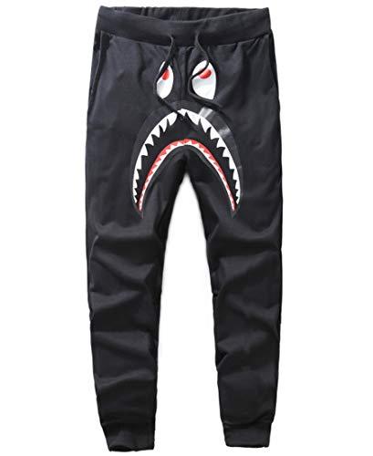 Capturelove Mens Casual Bape Chino Hip Hop Jogger Pants Black Trousers Shorts - M