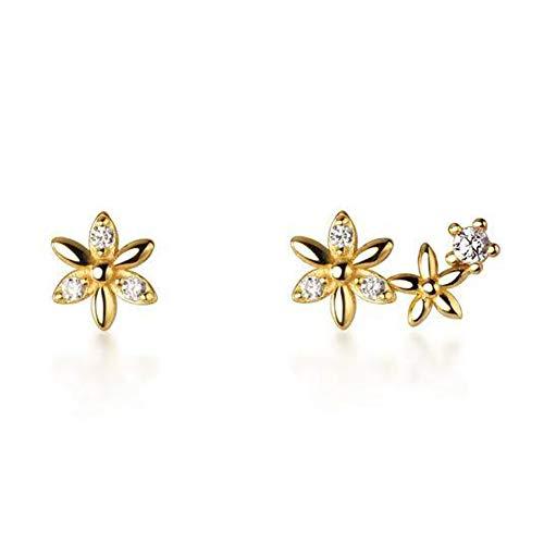 GALBLA Fashion 925 Sterling Silver Cubic Zirconia Flower Climber Wrap Stud Earrings Asymmetric Earrings for Women