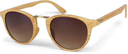 styleBREAKER Gafas de sol en óptica de madera y lentes redondas, marco plástico-metal, unisex 09020083, color:Montura marrón claro-dorado / vidrio gradiente marrón